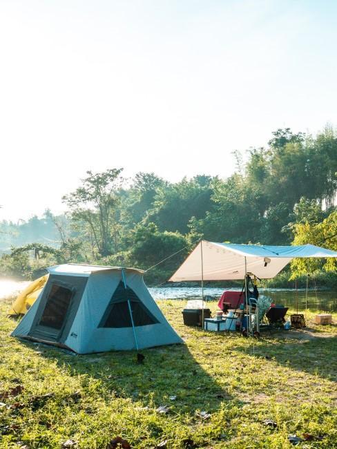 Camping mit Kindern Zelt und Vorzelt