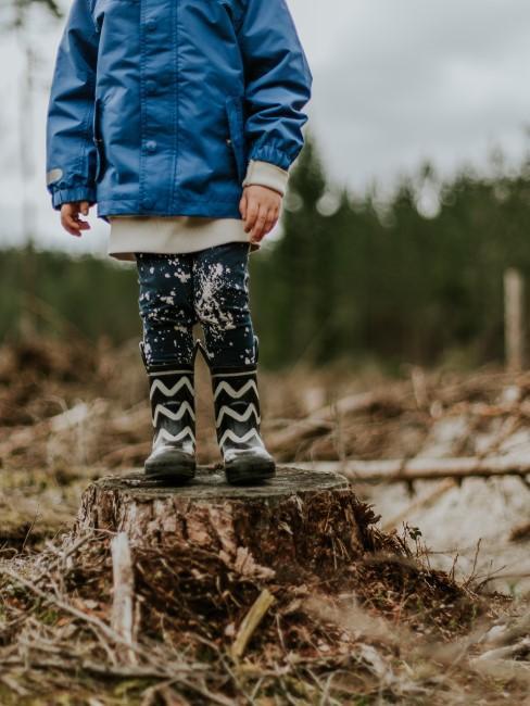 Kind mit Regenjacke und Gummistiefeln