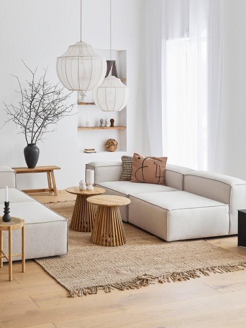Sandfarbe im Wohnzimmer stylen