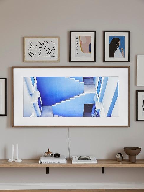 Wohnzimmer mit leichtem Blau