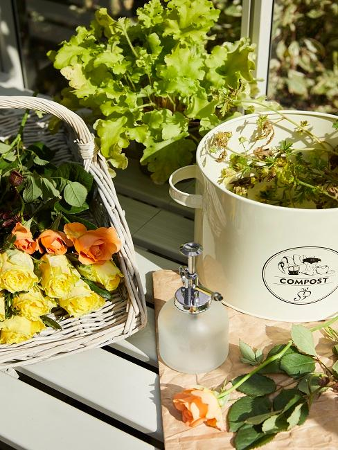 Blumen und Kompost