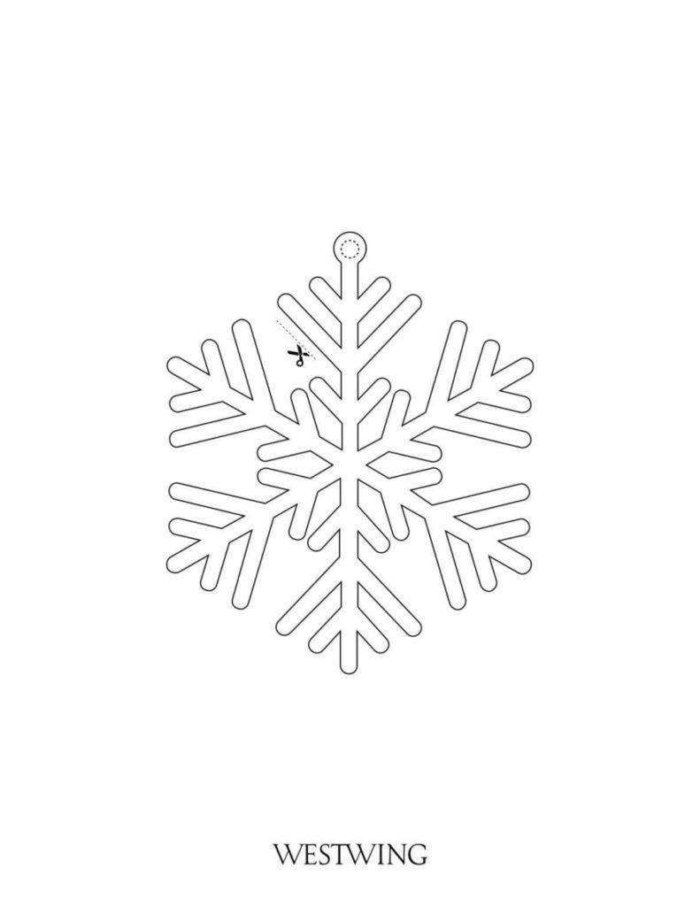 Malvorlage für Kinder an Weihnachten Schneeflocke