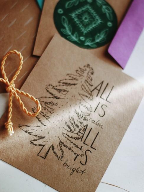 Tannenbaum auf Weihnachtskarte gemalt
