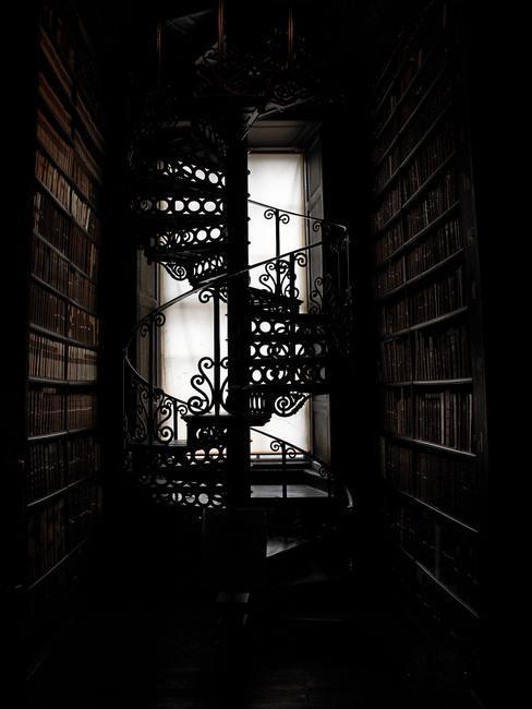 Biblioteca con ventanal al fondo y escalera de caracol metálica en el medio