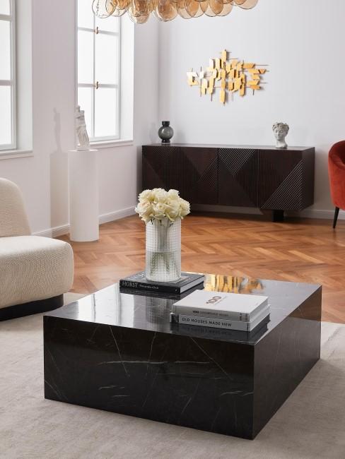 Mesa de centro de marmol negro