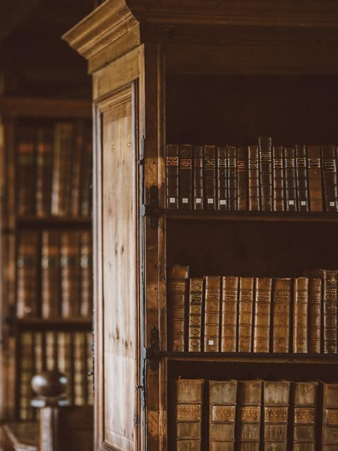 Biblioteca de madera maciza con libros antiguos