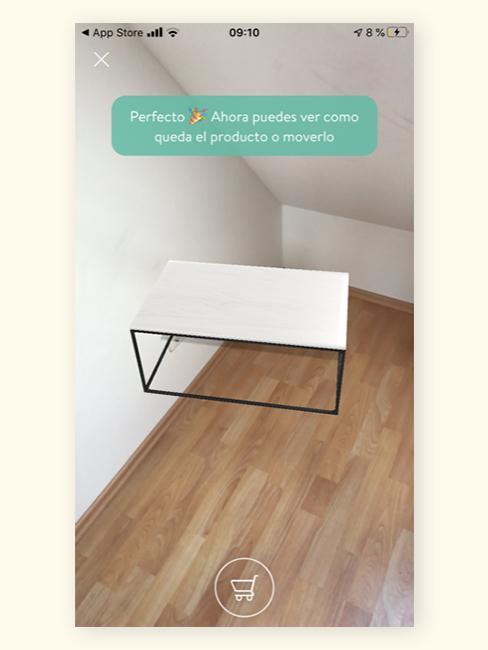 Colocación de mesa de centro en la aplicación de realidad aumentada de Westwingnow