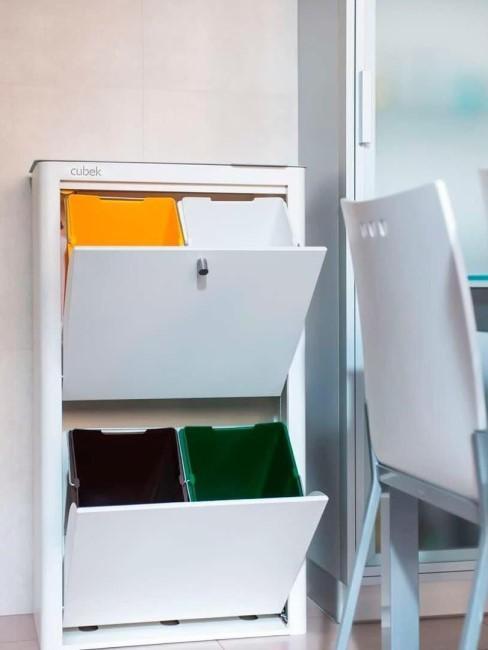 cubos de basura con compartimentos de reciclaje Cubek