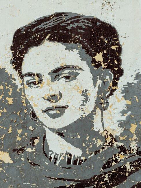Mural con retrato de Frida Kahlo