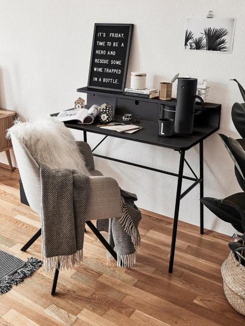 escritorio negro ccon una silla blanca con una piel