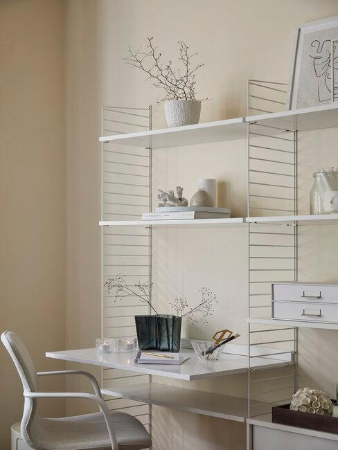 estanteria blanca con escritorio incorporado