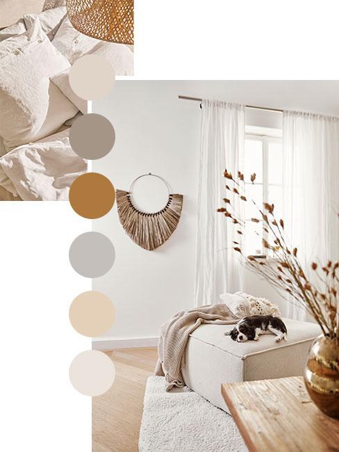 paleta de colores blancos y beige