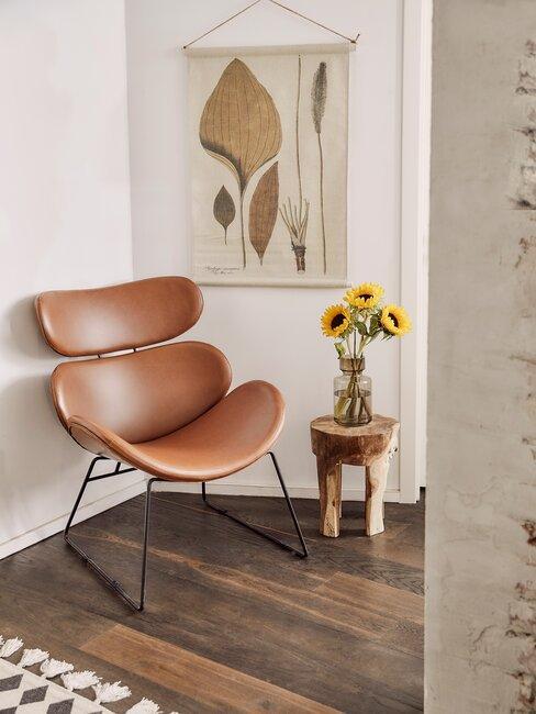 silla de cuero estilo industrial