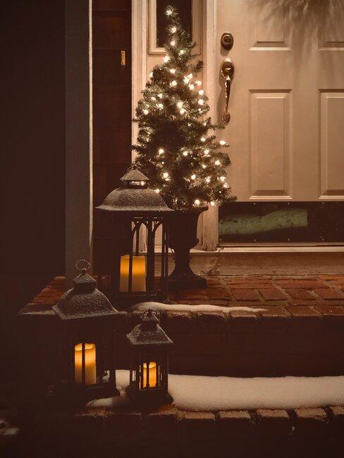 decoracion del porque con velas y luces