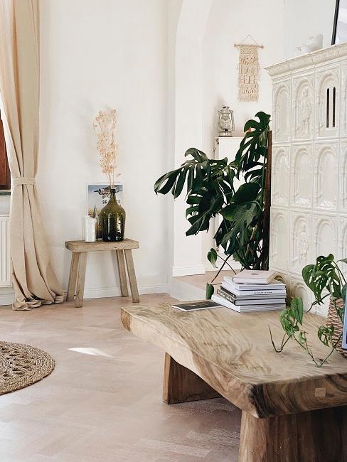 dos banco de madera con plantas y libros