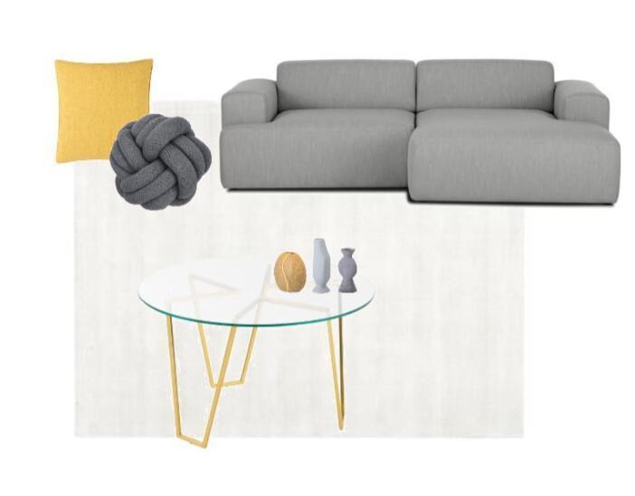 sofa gris cojin amarillo
