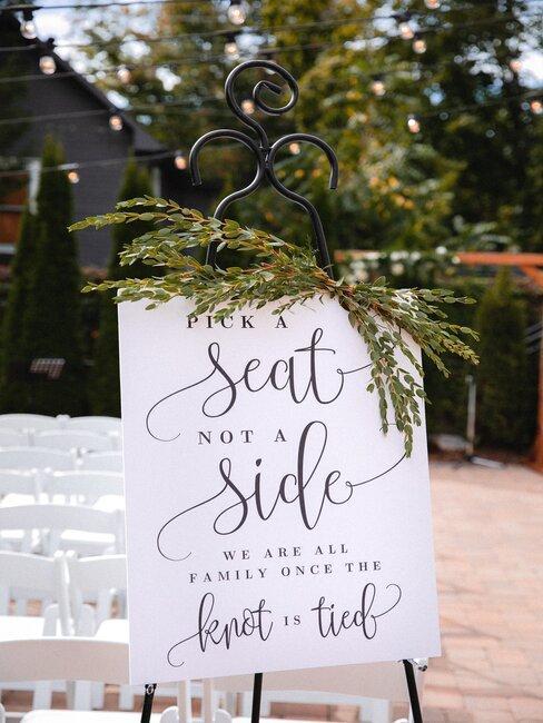 cartel blanco de boda