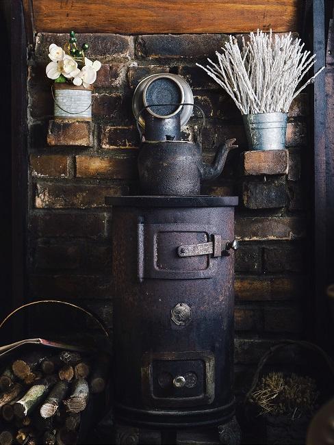 chimenea vintage de leña
