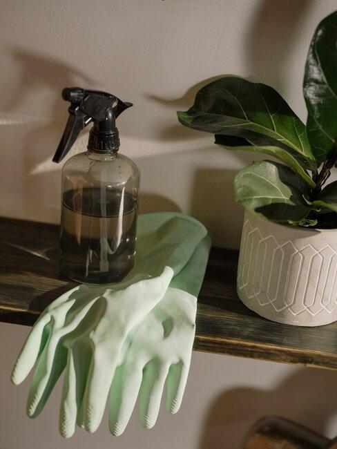 guantes verdes spray de limpieza