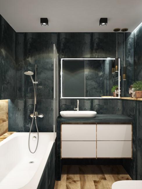 Baño con paredes en marmol negro