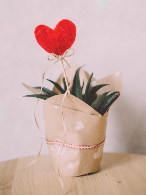 Una maceta decorada con papel y un corazon