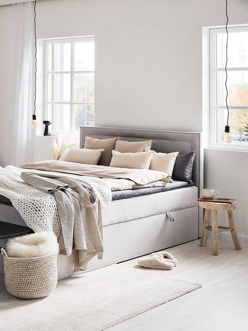 dormitorio en greige gris y beige
