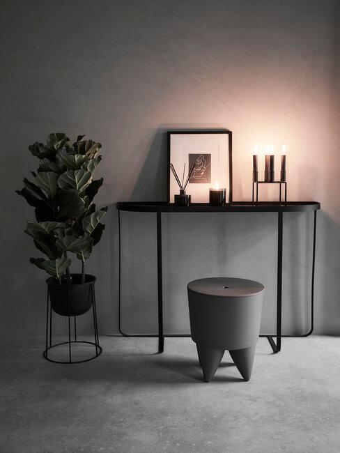 recibidor pasillo gris negro moderno minimalista