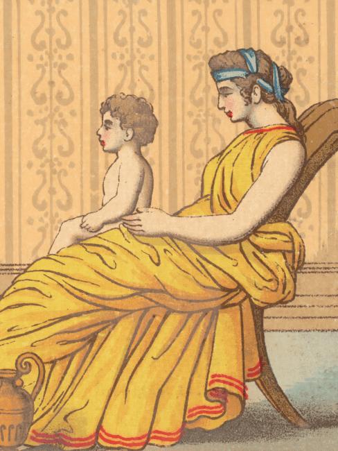 Dibujo de una madre del siglo pasado