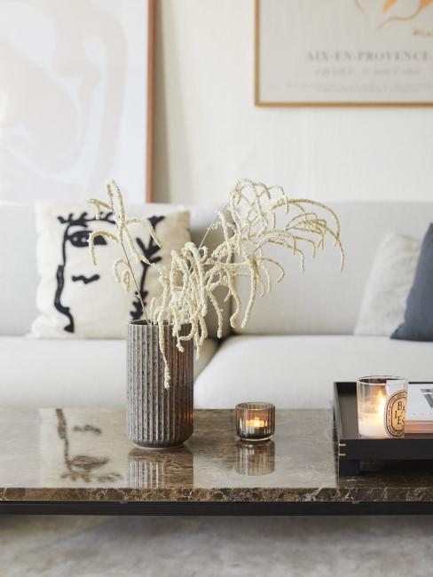 Mesa de centro con un sofa blaco con cojiens