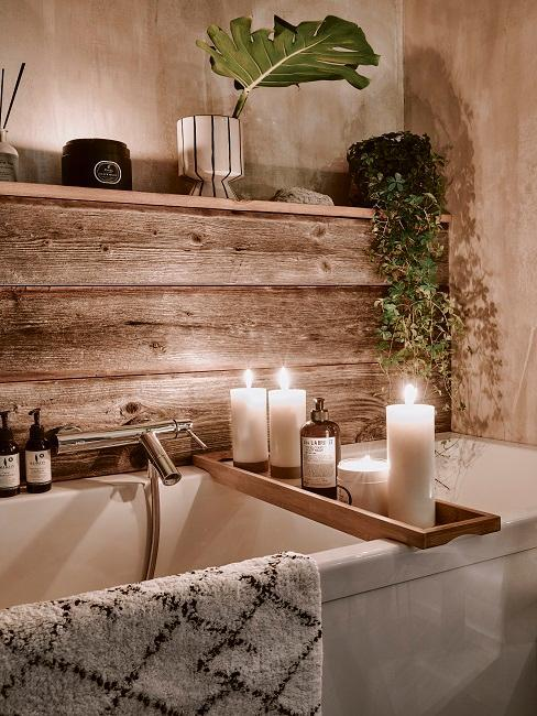 baño spa balera madera plantas y velas