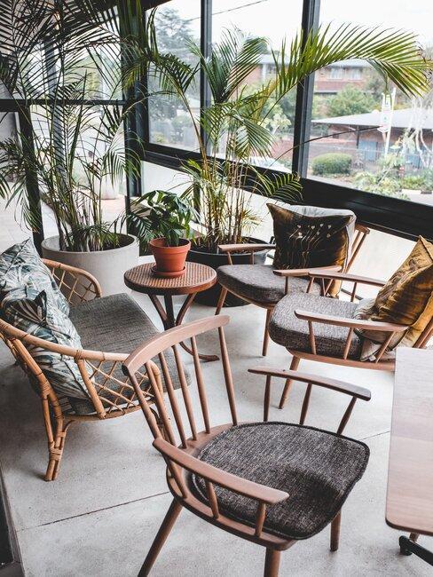terraza acristalada con plantas y sillas de madera