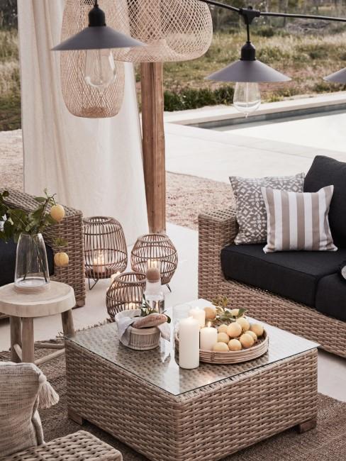 Muebles de terraza con fibras naturales