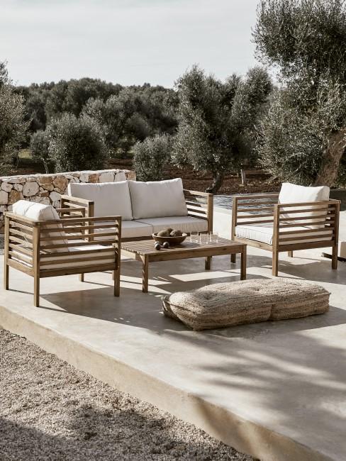 Set lounge de madera para exgterior