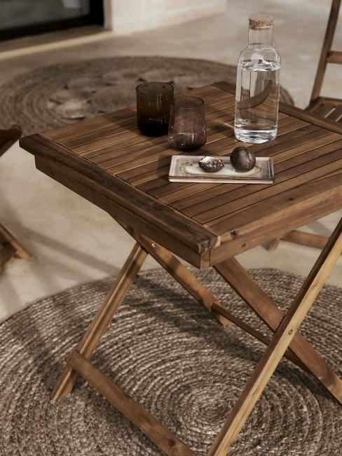 Mesa auxiliar de exterior de madera