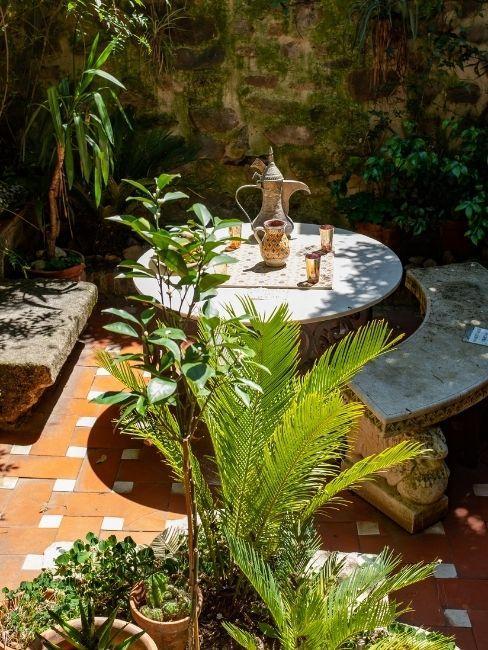 Terraza decorada con mesa blanca y plantas