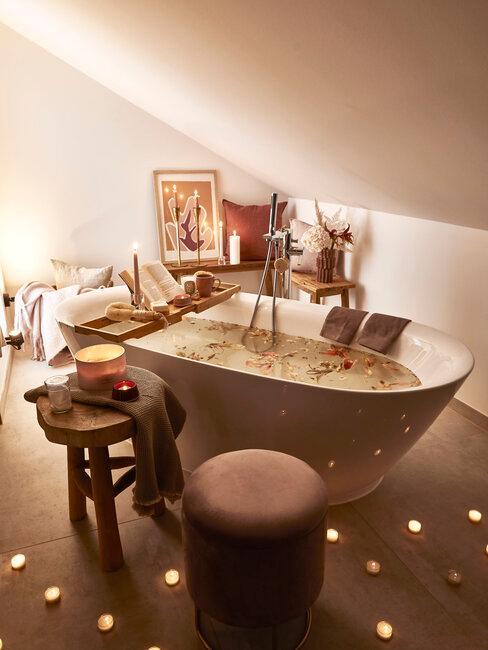 baño spa en casa con velas