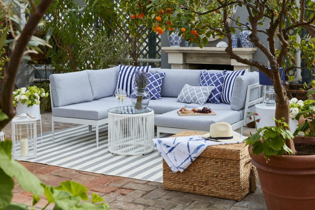 muebles de exterior sofá azul