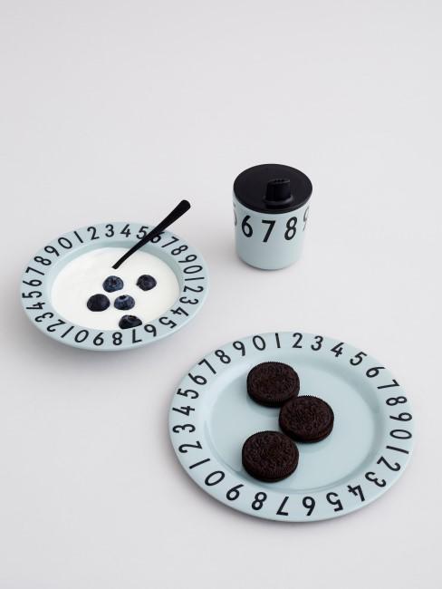 Set de desayuno Numbers en azul