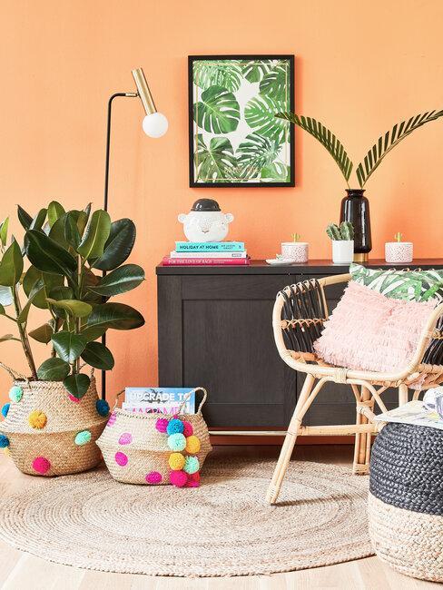 pared naranja mueble negro accesorios de colores y plantas