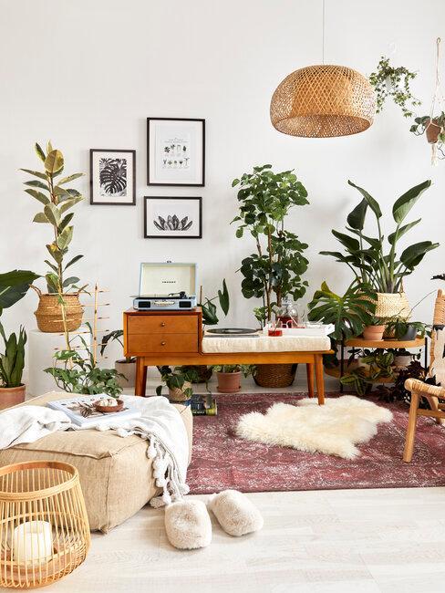 habitación con plantas de interior look boho vintage