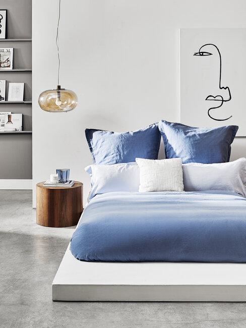 dormitorio industrial azul blanco gris