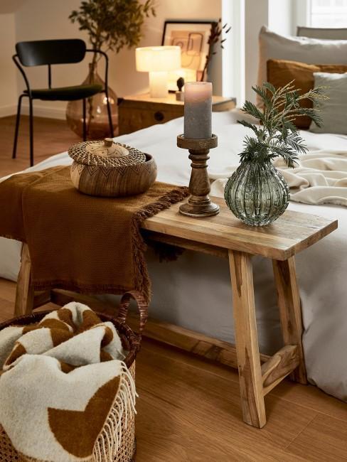 Banco de cama de madera maciza