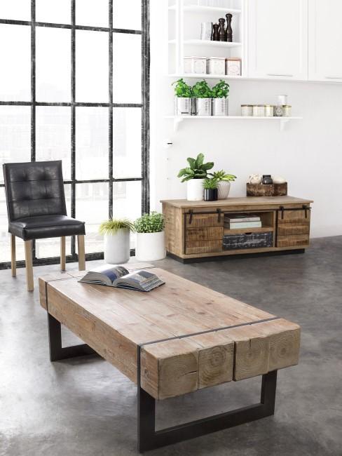 Mesa de centro Garrett, Metal, madera, Beige, gris, An 120 x Al 40 cm Bizzotto