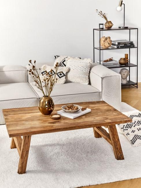 Mesa de centro de madera maciza con el sofa lennon