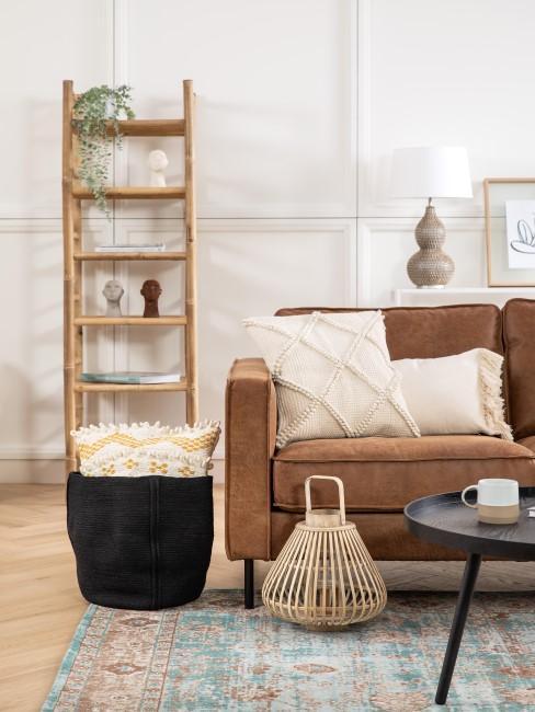 Funda de cojín de algodon en sofa de cuero sintetico