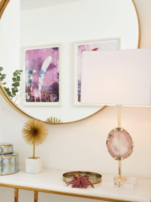 Lámpara de mesa grande con piedra ágata Treasure, estilo glam