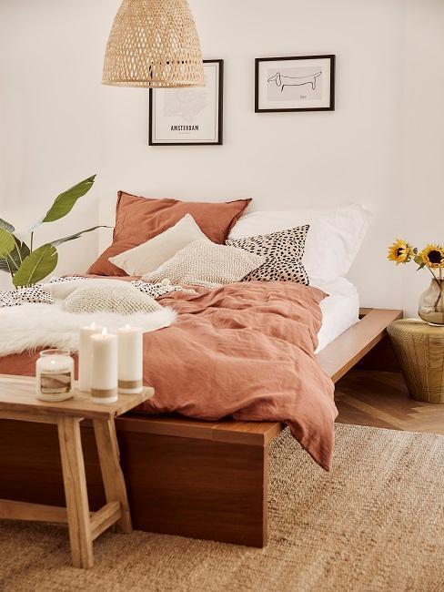 dormitorio boho terracota