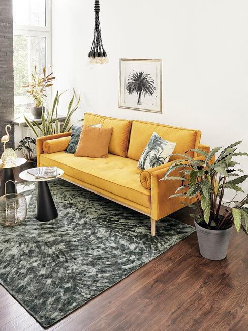 sofa amarillo dos plazas