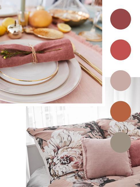 mesa y dormitorio rosa