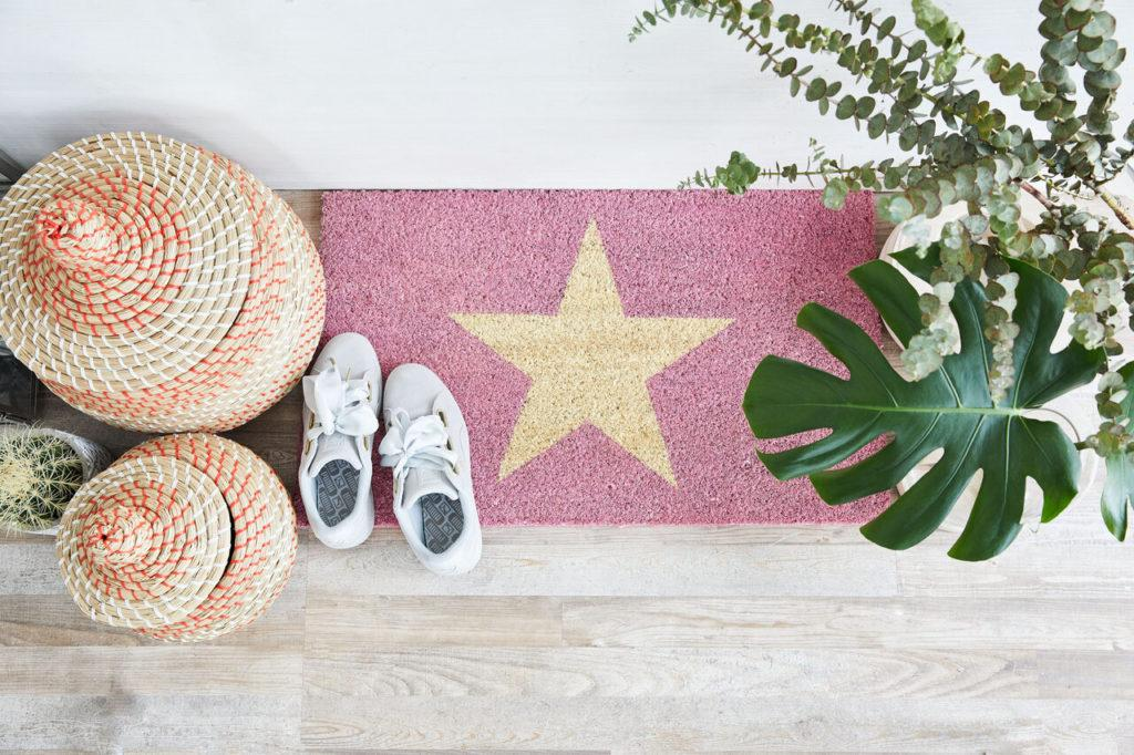 felpudo rosa con estrella